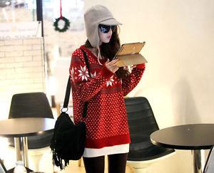 Xmas Women Crew Neck Snowflake Pattern Knitwear Pullover Jumper Cardigan Sweater | eBay
