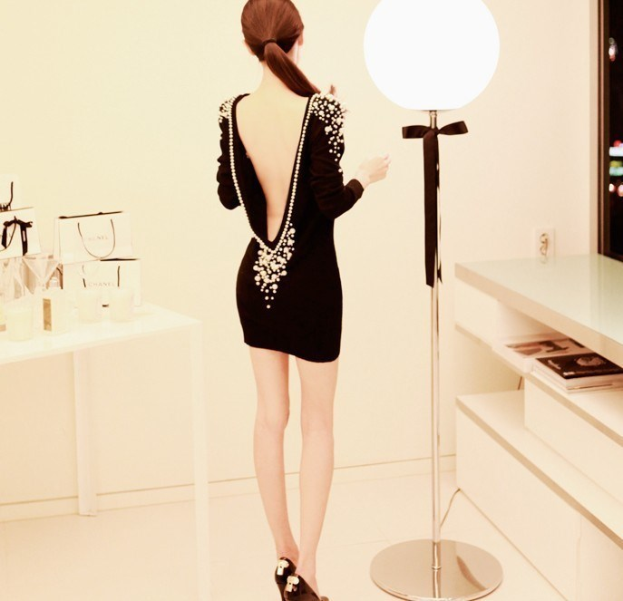 Boutique Backless Pearl Sexy Dress: tidestore.com