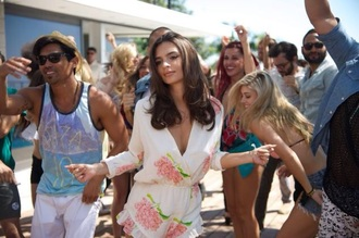 jumpsuit we are your friends white pink flower necklace romper emily ratajkowski zac efron pink flowers white romper long sleeves summer summer outifts party party outfits sexy cheap romper affordable beautiful flowers movie pink girly floral