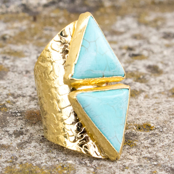 jewels ring aztec gold turquoise triangle
