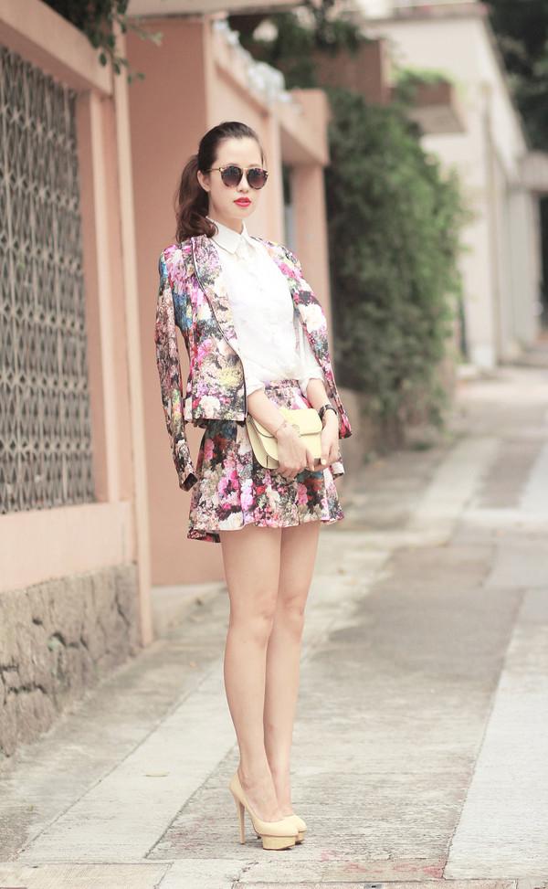 mellow mayo sunglasses shirt jacket skirt bag shoes