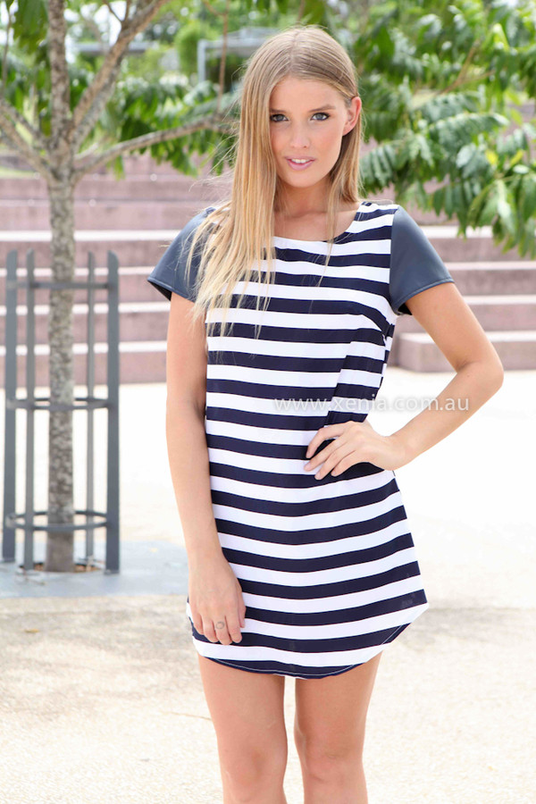dress wome's fashion shift dress striped dress ootd ootn xeniaboutique women's clothing and accessories pleather sleeves