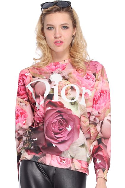 ROMWE   Letters & Roses Print Sweatshirt, The Latest Street Fashion