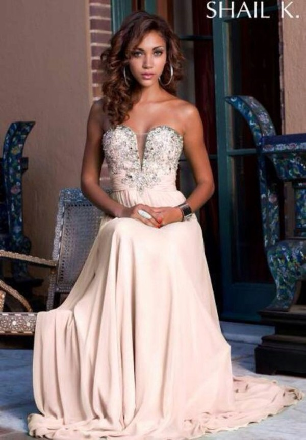 dress prom prom dress princess pink jeweled strapless