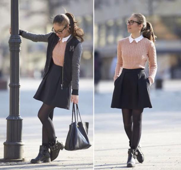 skirt black bag shirt blouse pink white shoes