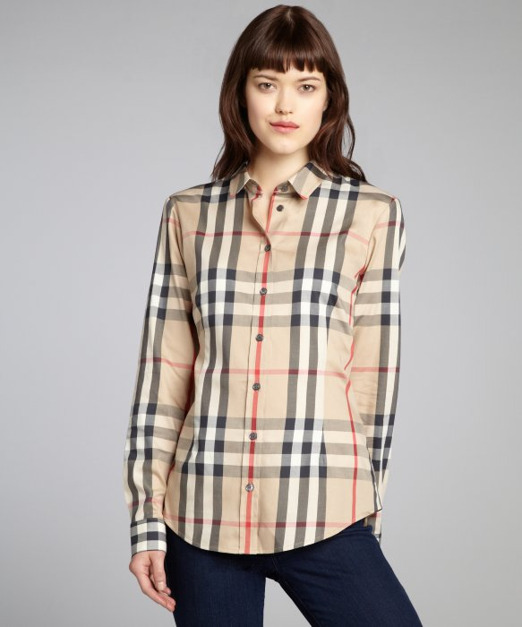 Burberry Burberry Brit tan new classic check stretch cotton button front blouse | BLUEFLY up to 70% off designer brands