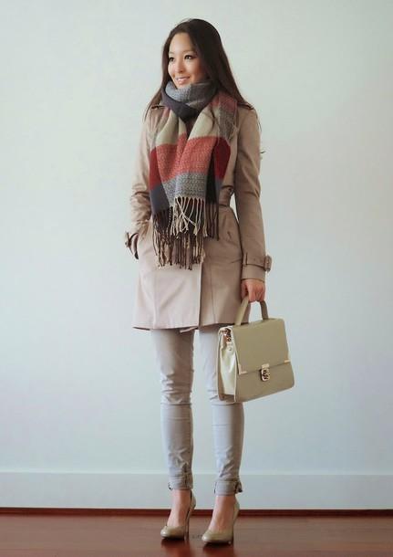 sensible stylista blogger coat scarf bag top shoes