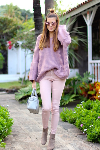 marilyn's closet blog blogger sweater pants shoes bag sunglasses jewels oversized sweater purple sweater ankle boots handbag pink jeans