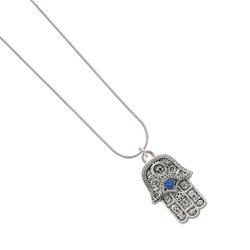 Amazon.com: Hamsa Hand with Blue Swarovski Crystal Silver Plated Snake Chain Charm Necklace: Jewelry