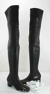 Chanel Runway Over The Knee Black Leather Boot Gold Front Zip Womens 39 US 9 New   eBay