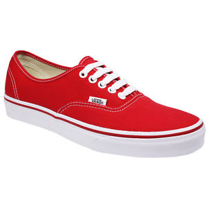 VANS AUTHENTIC MENS WOMENS CANVAS UNISEX SKATE SNEAKERS RED TRAINERS SHOES SIZE | eBay