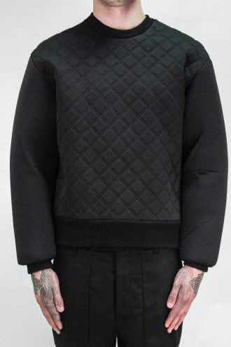 JUUN.J Quilted Stitch Sweatshirt in Black | Autograph Menswear
