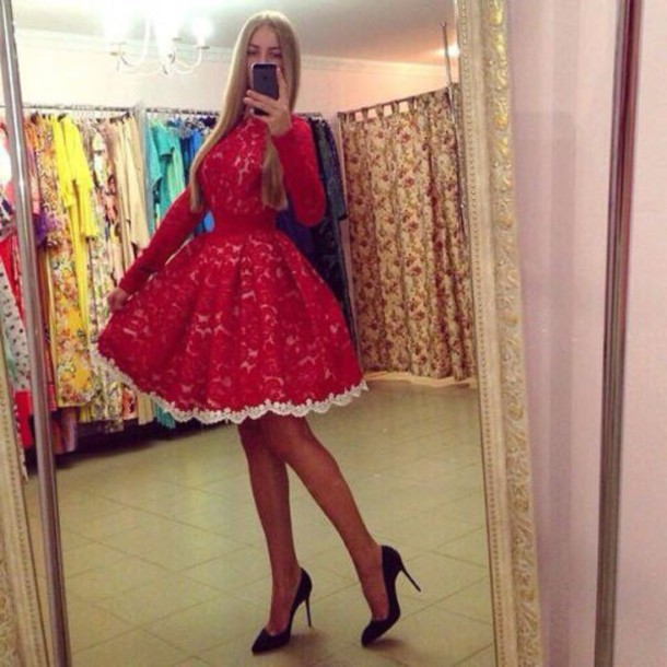 dress red dress skater dress blonde hair