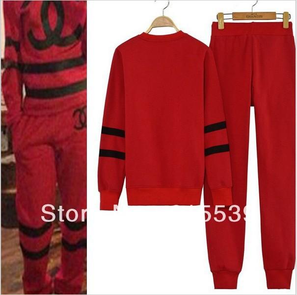 2014 Women sport Suit/Set  FAKE CC Channel  sweatshirt tracksuit  Red/Black colour  sportswear costume  2pcs/set-in Hoodies & Sweatshirts from Apparel & Accessories on Aliexpress.com