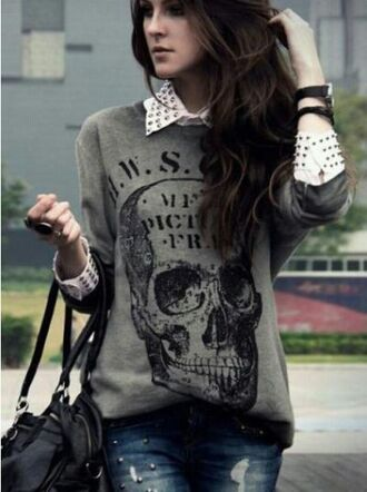 shirt t-shirt skull grey sweater jeans rock black black bag lether bag skull sweater oversized sweater ripped jeans blouse white blouse studded grey skull sweater skulled sweater graphic tee studs collared shirts top punk rockabilly spikes spiked shirt grey sweater