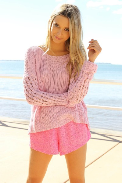 Pink Sweater - Rose Pink Long Sleeve Knit | UsTrendy