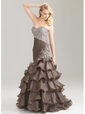 Buy Glorious Mermaid/Trumpet Sweetheart Floor Length Layered Taffeta Evening Dress under 300-SinoAnt.com