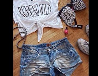 shirt running wild running wild shors ripped shorts ripped shorts bra converse tied shirt