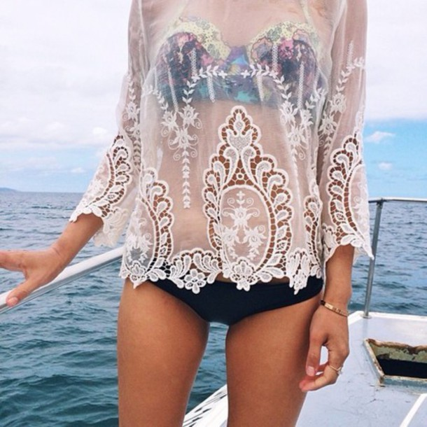 top long sleeves white lace see through