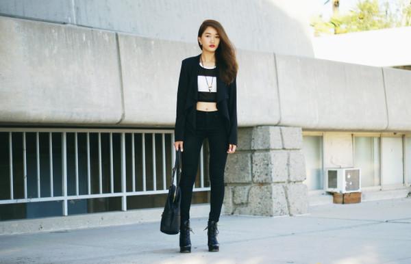 rouge fox jacket t-shirt jeans bag shoes