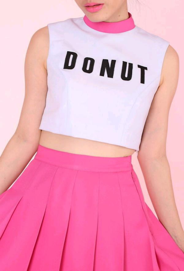dress shirt top pink white donut black skirt hot pink