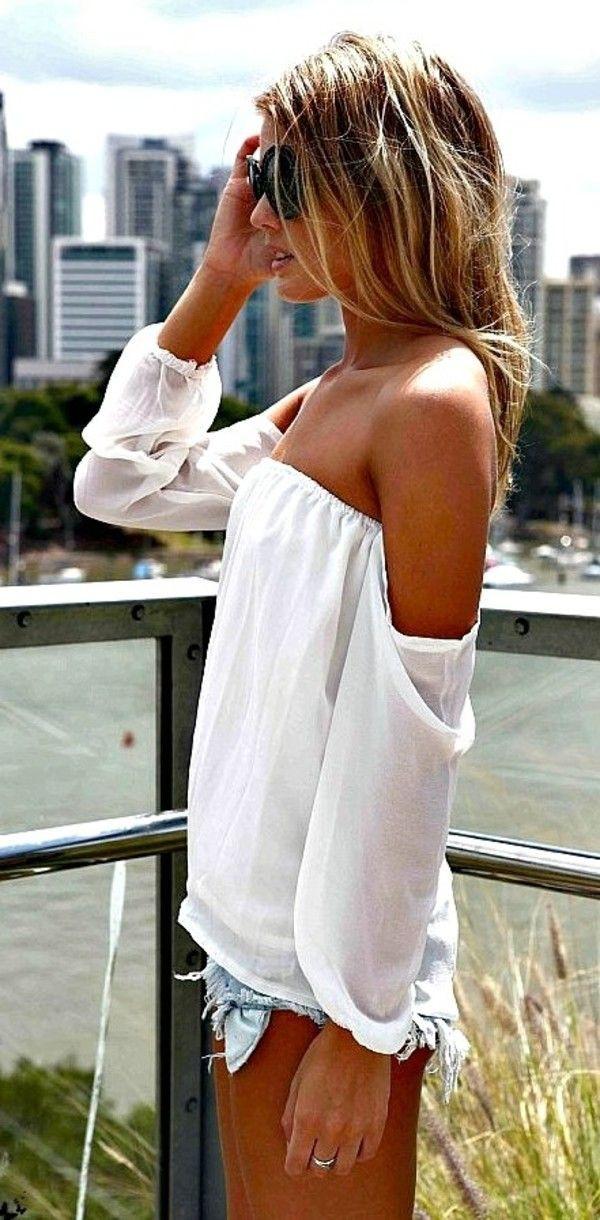 blouse white blouse shoulder detail
