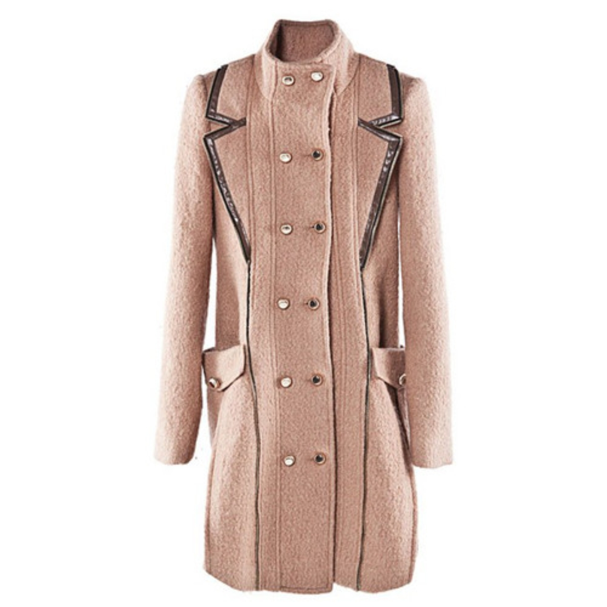 Stand Collar Double-Breasted Woolen Coat,Cheap in Wendybox.com