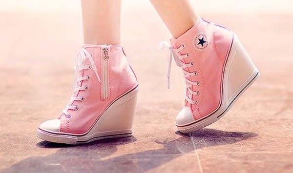 shoes converse high heel pink converse wedges all star converse wedges girl wedges chuck taylor all stars stars high heels pumps cute high tops high top sneakers high heel sneakers allstars pink high heels