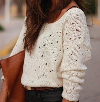 sweater jumper cozy cream white white sweater loose boho bohemian sweatshirt winter sweater instagram belt blouse cardigan pullover cute knitted sweater holes t-shirt open knit boat neck