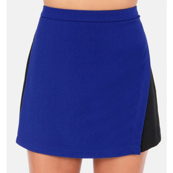 Color Block Mini Skirt With Wrap Front Layer at Style Moi