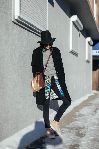 ordinary people blogger shirt sneakers grey sweater black coat floral superga