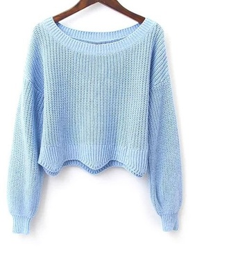 sweater girly blue scalloped knitted sweater