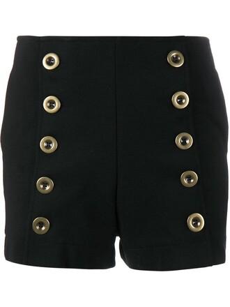 shorts women cotton black silk wool