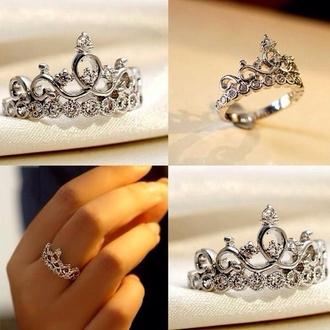 jewels ring silver ring diamonds pandora princess ring