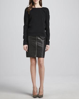 J Brand Ready to Wear Landon Deep-Surplice Top & Maxine Front-Zip Leather Skirt - Neiman Marcus