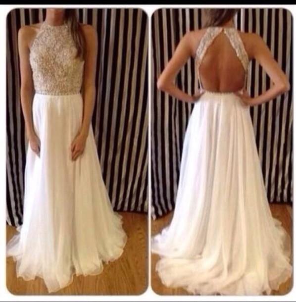 dress white dress backless prom dress