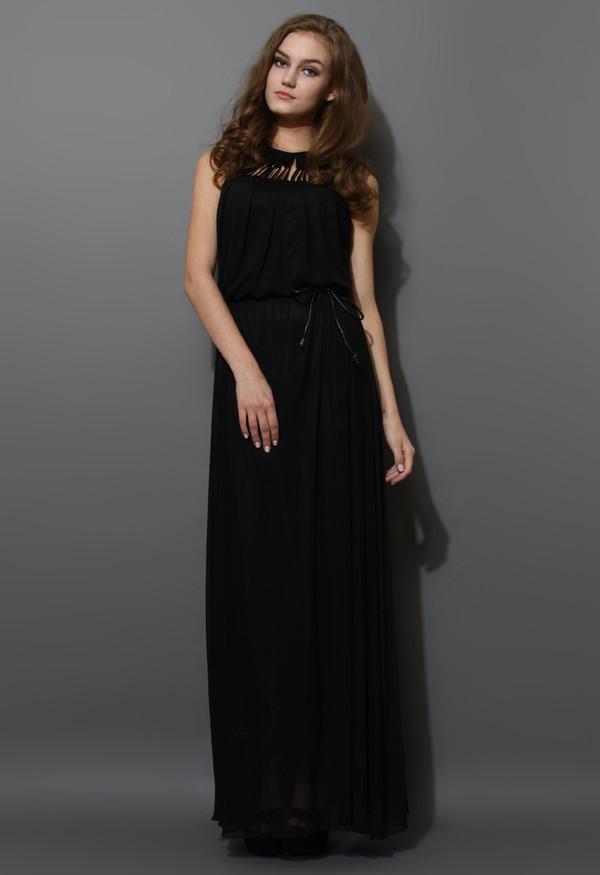 dress cage cut-out neckline maxi black