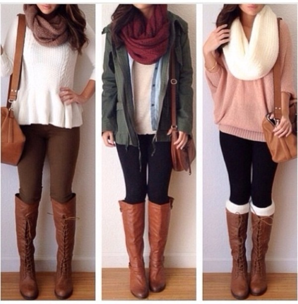 infinity scarf knitted scarf parka white sweater pink sweater brown leather bag brown leather boots fall jacket skinny pants jacket sweater boots bag winter outfits scarf leggings purse jeans top shoes red scarf high boots green jacket brown bag brown boots