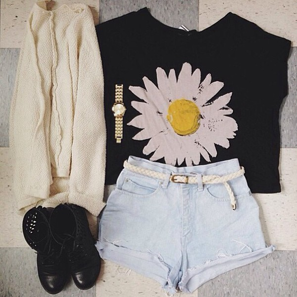 shirt high waisted denim shorts white sweater outfit urban outfitters daisy shorts belt white flowers spijker tumblr shorts demin girly hipster instagram floral shoes cool swag sweatshirt storm trooper amazing grunge nirvana 90s style romper party short