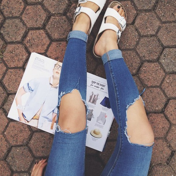 shoes sandals pants jeans displaced knees ripped jeans blue jeans magazine girly tumblr outfit tumblr shoes summer shoes girly shoes modern shoes