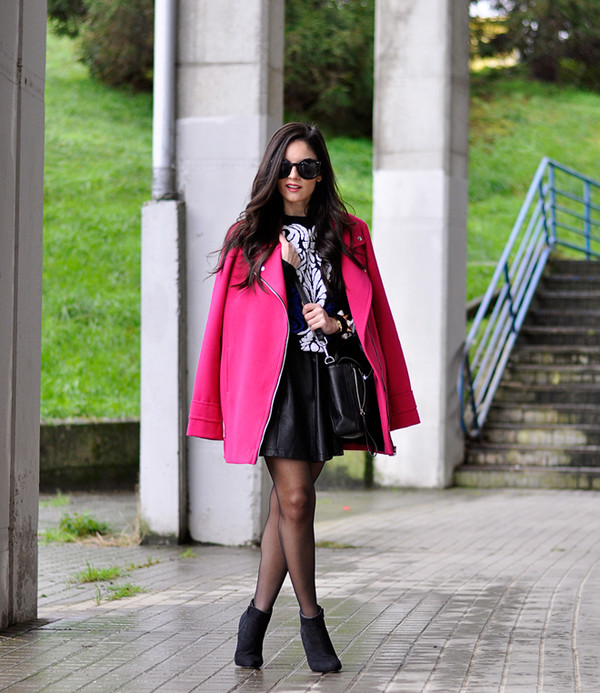 petit and sweet couture coat sweater skirt bag sunglasses