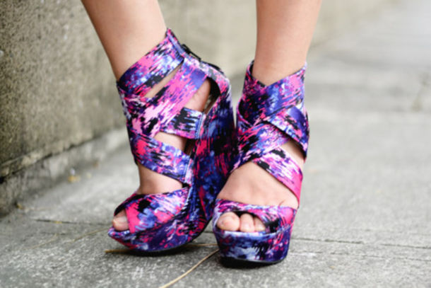 Shoes: multicolor wedges pink white purple high heels blue