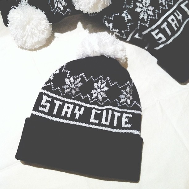 Stay Cute Snowflake Pom Beanie from TOKYO HARDCORE on Storenvy