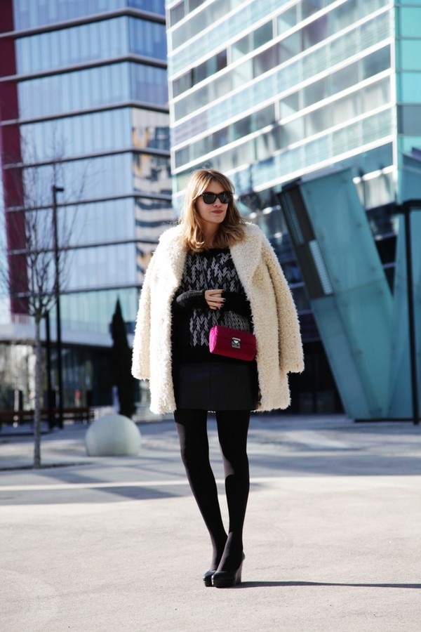 my daily style sweater coat skirt bag shoes