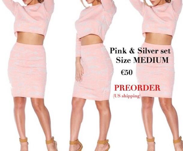 dress pink silver bodycon dress two piece dress set
