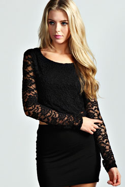 Sienna Long Sleeve Lace Crop Top at boohoo.com