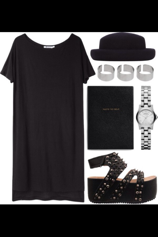 shoes sandals black studs style fashion dress indie boho hat top