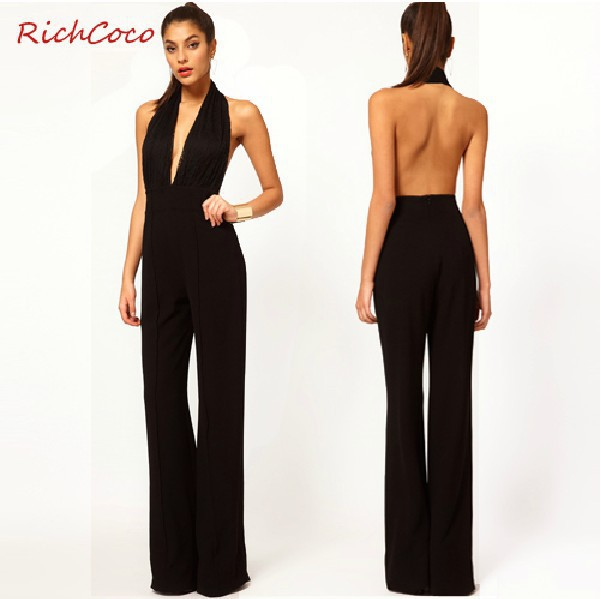 Sexy Lady Slim Thin Lace Stitching long Backless Halter Women jumpsuits Overalls Strap Trousers Party Romper Black Plus Size-in Jumpsuits & Rompers from Apparel & Accessories on Aliexpress.com