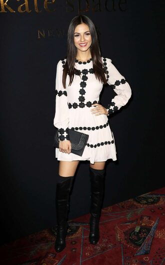 dress ny fashion week 2017 victoria justice long sleeve dress spring dress over the knee boots fashion week 2017 nyfw 2017