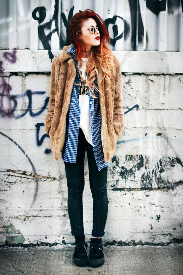 le happy shirt t-shirt coat pants sunglasses camel fluffy coat fur coat brown